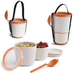 $22 This is what the perfect lunch looks like. Well, at least the container it comes in! Each part of the two-pot canister has a watertight locking seal so liquids don't leak. When empty, the smaller pot fits into the larger pot for a compact finish.  Includes spork and carry strap. Lightweight and microwave and dishwasher safe -- and it come in ORANGE!! What more could we ask for?