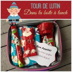 Un tour de lutin pour l'heure du lunch….cute for the kids during the holidays! Holiday World, Holiday Fun, The Elf, Elf On The Shelf, Christmas Love, Xmas, Boite A Lunch, Naughty Elf, Celebrate Good Times