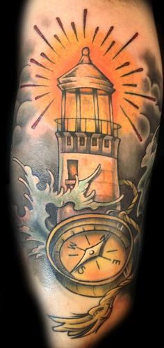 Old school light house tattoos light house tattoo by for How to shower with a new tattoo