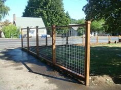 "wood frame ""Hog panel"" fence - For the Pool Area Fence. Good looking and Functional! Great fence for many garden ideas! Hog Panel Fencing, Wire Fence Panels, Hog Wire Fence, Deer Fence, Cattle Panel Fence, Wood Fences, Chicken Wire Fence, Welded Wire Fence, Cattle Panels"