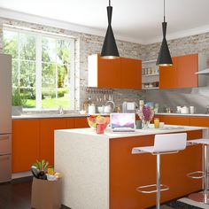 Brick Accent Walls Can Be Added To Kitchen Too Check Out This Modular Design Idea