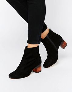 ASOS | ASOS – REA – Leder-Ankle-Boots mit Absatz
