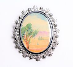 Desert Scene Country Scene Painted Picture Brooch (c1950s) by GillardAndMay on Etsy