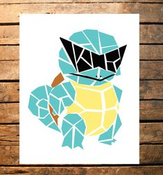 Geometric Squirtle Squad Digital Print by TaracottaSunrise on Etsy