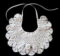 Artículos similares a crochet baby bib, crochet cotton baby bib, christening bib, knitted bib, baby bib en Etsy