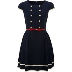 Cutie Double breasted dress (125 BRL) ❤ liked on Polyvore featuring dresses, vestidos, robes, short dresses, navy, navy sailor dress, navy dress, blue dress, navy blue dress i short navy dress