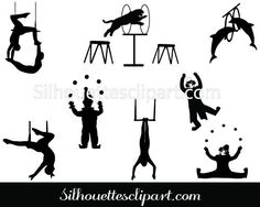 Circus Silhouette Vector Graphics