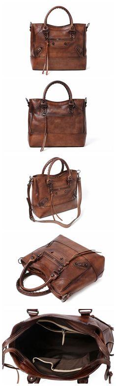 Handmade Full Grain Leather Handbag, Designer Handbag, Women Handbag DT225