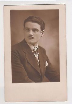 Vintage 1930s Real Photo Splendid Young Man Slick Back Hair Mustaches Gay Int.