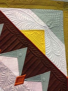 close up, Autumn Joy by Margaret Solomon Gunn.  Silk quilt. 2014 Mid-Atlantic Quilt Festival.  photo by Angela Huffman | Quilted Joy.
