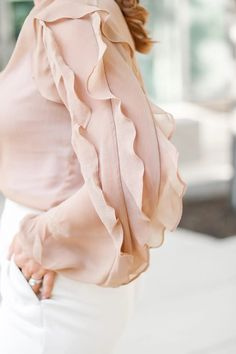 Work Neutral Look For Now And Later - Oh What A Sight To See Summer Work Wear, Workwear, Neutral, Ruffle Blouse, Fall, How To Wear, Tops, Women, Fashion