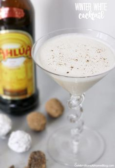 "Try this grown up version of ""cookies & milk"" - Kahlua balls & winter white cocktail recipes"