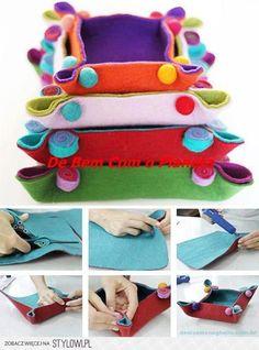 Felt napkin making - keçe - Felt Diy, Felt Crafts, Fabric Crafts, Sewing Crafts, Wet Felting, Needle Felting, Diy Couture, Felt Decorations, Sewing Projects For Kids