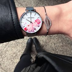 The Julie Julsen Flower Silver Mesh. Sweet and playful, combine spring flowers with black leather. A stunner all along the line. Spring Flowers, Black Leather, Mesh, Watches, Bracelets, Sweet, Silver, Accessories, Clocks