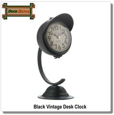 Black Vintage Desk Clock - This unique black clock will brighten your room while keeping perfect time! The iron framework features a bell-shaped base, curved arm, and a cool clock with an iron visor. It adds a dash of vintage charm to any space.  Only $25.16 plus FREE shipping!