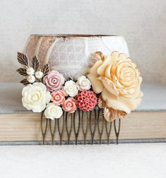 Bridal Hair Comb Peach Floral Collage Comb by apocketofposies