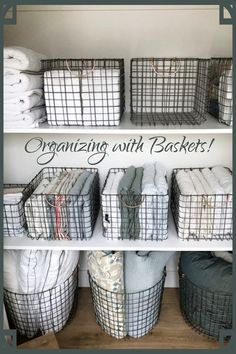 Organizing with Baskets! Creative storage solutions for small spaces - use baskets to organize all the clutter!
