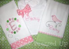 Monogrammed Baby Girl Gift Set Two Burp Cloths by SewDressedUp