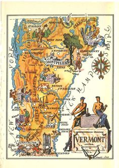 Vermont Map Artwork / Old Map Illustration / Vintage Map Print / 1950s State Map / Jacques Liozu Art / VT State Wall Decor / Old Map Art by HildaLea on Etsy
