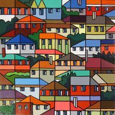 bold block outline landscape paintings - Google Search