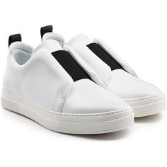 Pierre Hardy Leather Sneakers (9 795 UAH) ❤ liked on Polyvore featuring shoes, sneakers, white, pull on sneakers, leather trainers, white sneakers, leather shoes and white leather shoes