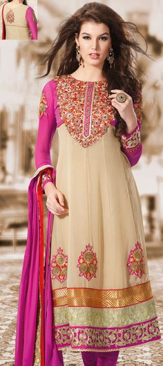 Designer Anarkali Churidar Suit - Exuberant colour and exotic patterns for the gorgeous you. Look sensationally awesome by draping this Bisque Georgette Designer Churidar Anarkali Suit with Dupatta. This Churidar suit is nicely designed with beautiful resham, zari, lace and patch work. | Shop It Here: http://www.sareegalaxy.com/pages/itemlarge.aspx?itemcode=KHK7H8004