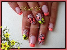 Neon french tips with free hand nail art butterflies - amazing!