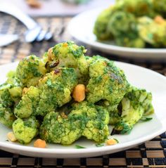 Roasted Cauliflower with Curried Cashew Cilantro Pesto. Ah-mazing don't-judge-a-book-by-it's-cover flavor!- The Spice Kit Recipes