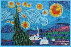 This is a mural made from bottle caps in an elementary school!