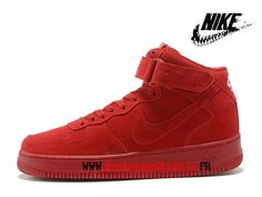 370414e93bc55 Nike Air Force 1 High Chaussure Nike Montante Pas Cher Pour Homme Rouge  315123-609