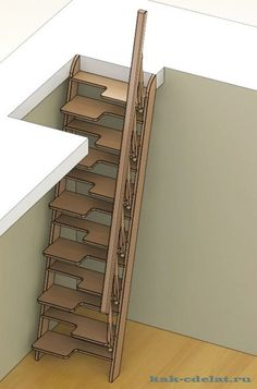 Loft Stairs Ideas Tiny Houses Spaces 22 Ideas For 2019 Space Saving Staircase, Loft Staircase, Attic Stairs, Staircase Design, Staircase Ideas, Basement Stairs, Tiny House Stairs, Stairs In Living Room, Loft Design
