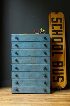 Industrial blue chest of drawers.