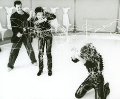 "Michael and Janet Jackson having fun on the set of ""Scream"""