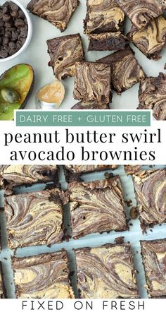 Peanut Butter Avocado Brownies Avocado is usually a wide, often upright evergreen woods which has Gluten Free Peanut Butter, Vegan Butter, Healthy Treats, Healthy Desserts, Vegetarian Desserts, Dessert Recipes, Avocado Toast, Chocolate Avocado Brownies, Canned Blueberries