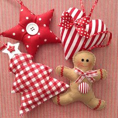 Christmas Ornaments / Xmas Fabric Red and White Ornaments /