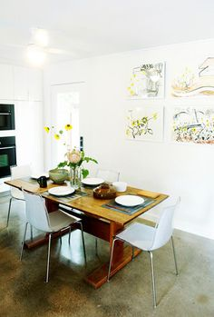 kitchen table and art work