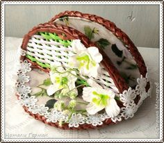 Поделка изделие Плетение Салфетница Бумага Трубочки бумажные фото 1