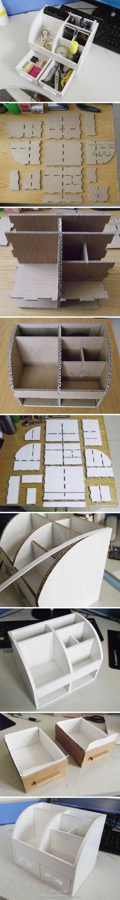 DIY Cardboard Organizer (BIG)DIY Long Cardboard Organizer for your Craft SuppliesMaterials used: cardboard white cardboa Cardboard Furniture, Cardboard Crafts, Diy Furniture, Cardboard Boxes, Desk Organization Diy, Diy Storage, Diy Organizer, Storage Ideas, Craft Desk