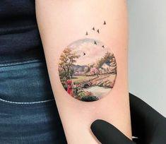 "tattoos-org: "" Landscape Circle Tattoo by Eva Krbdk New York "" Circle Tattoos, Body Art Tattoos, Small Tattoos, Sleeve Tattoos, Tree Tattoos, Tatoos, Pretty Tattoos, Beautiful Tattoos, Miniature Tattoos"