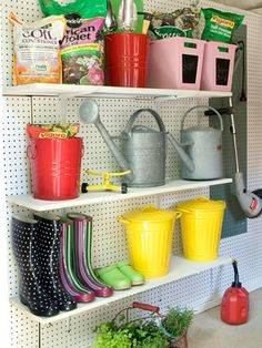 I love the shelves the hubby built for the garage, but those deep shelves are not great for the everyday gardening stuff.  These would be good to mix in for the small everyday items.