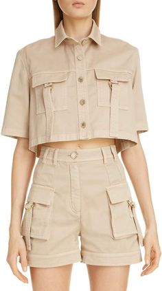 Girls Fashion Clothes, Fashion Outfits, Clothes For Women, Edgy Outfits, Cool Outfits, Cargo Shirts, Moda Vintage, Crop Shirt, Look Fashion