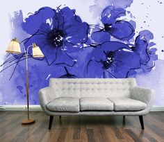Poppy wallpaper mural, mini, indigo - wallpaper - at mydeco.com - Shop for your home from Europe's best boutiques. This product is delivered by digetex