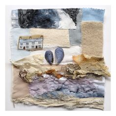 St. Ives stitched collage in progress - placing found objects (shells and seaweed) on a stitched base - melted textiles and frayed silk