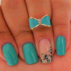 Teal Leopard Nails