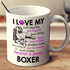 I Love my Boxer Dog - Mug. TC-who doesn't live that boxer dog! I thank God for every boxer baby* I've had & have! *nothing to do with age - young or old-always a boxer baby! Boxer And Baby, Boxer Love, Coconut Oil For Dogs, Oils For Dogs, Boxer Puppies, Boxer Rescue, Cesar Millan, Dog Care, Doge