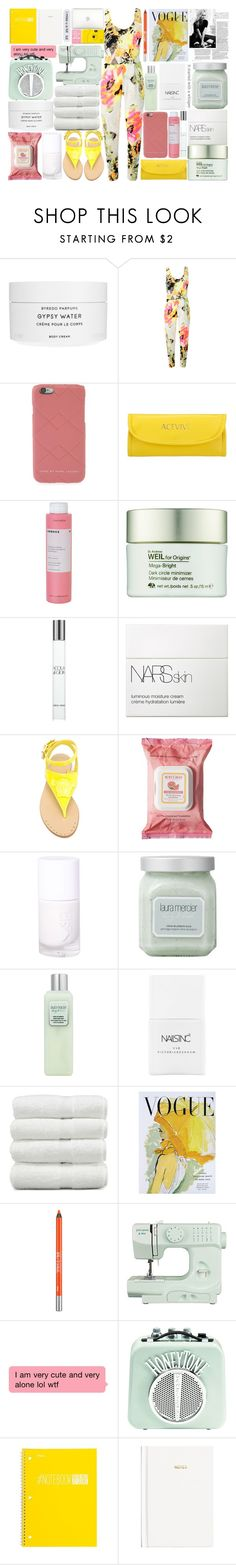 """""""Jumpsuit"""" by itsfashioninfinity ❤ liked on Polyvore featuring Byredo, Korres, Origins, Giorgio Armani, NARS Cosmetics, Versace, Burt's Bees, Laura Mercier, Nails Inc. and Marc Jacobs"""