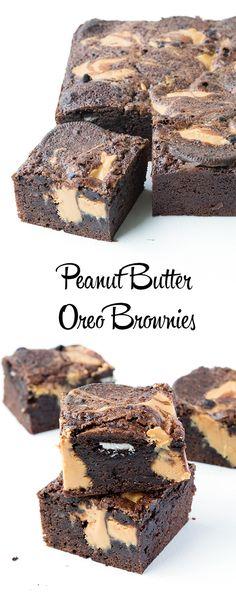 Peanut Butter Oreo Brownies | via sweetestmenu.com