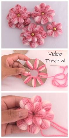 DIY Embroidery Thread Flowers with Cardboard Tutorial + Video - - .- DIY Stickgarn Blumen mit Karton Tutorial + Video – – … DIY embroidery thread flowers with cardboard tutorial + video – – thread - Crochet Crafts, Yarn Crafts, Fabric Crafts, Crochet Projects, Diy And Crafts, Crafts For Kids, Easter Crafts, Cardboard Crafts, Fun Projects