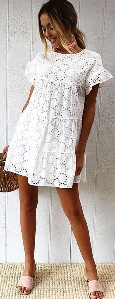 #winter #outfits white scoop-neck cap-sleeved floral lace mini dress
