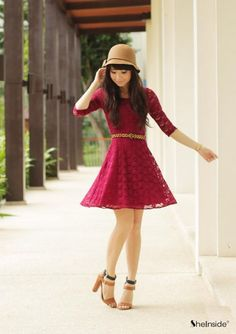Super Cute!!! Red, Half Sleeve, Belted, Lace, Skater Dress - what a fun little dress. (Click on the picture which takes you to the link and -  other pictures of this cute dress show it with a sweet little jacket, a wide belt and more... so fun!) Also available in navy.